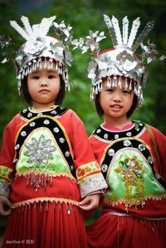 Chinese tribal costumes on kids