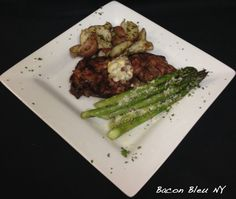 Bacon Bleu NY - 12oz NY strip char grilled to your liking then topped with a bacon bleu cheese butter. Steak is served with roasted red skin potatoes and choice of soup or salad.
