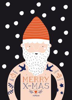 Tattooed Claus #santa #illustration #christmas #tattoo