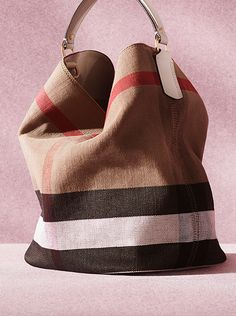 A canvas check hobo bag from the Burberry S/S14 accessories collection