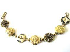 WEST POINT, ARMY antique button bracelet, black & gold!