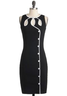 Swell-Heeled Dress - Mid-length, Black, White, Solid, Buttons, Cutout, Sheath / Shift, Sleeveless, Trim, Party, Pinup