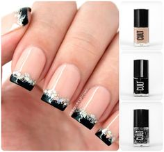 nail tips, black french, soft pink, french nail, nail arts
