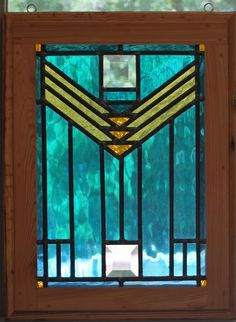 Center Line- leaded stained glass panel. $200.00, via Etsy.