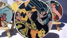 Geek coasters made from comic books and blanks in the lighting section of the hardware store.