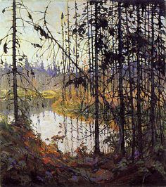 """Tom Thomson (1877-1917). """"The Northern River """" Winter 1915, oil on canvas. Canadian painter associated with--but not a member of--the Group of Seven."""