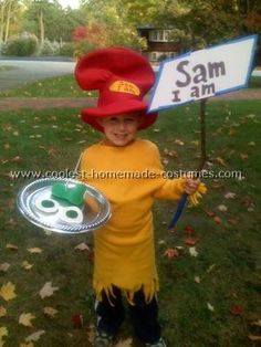 Green Eggs and Ham Costume: My son's favorite book is Green Eggs and Ham.  His name happens to be Sam so he decided he wanted to be Sam-I-am.  I thought it would be easy to find the