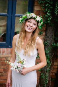 smiling bridesmaid with floral crown by www.commonfarmflowers.com. photography by http://www.marionhphotography.com/