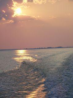 Sunset on the Saginaw Bay near Bay City, Michigan