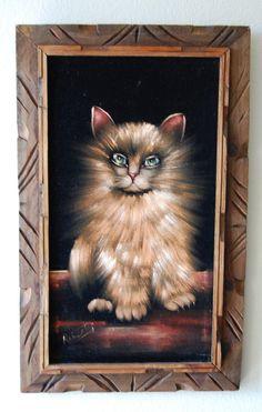 Vintage Velvet Cat Painting.