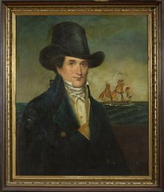 American Naval officer in a top hat, early 19th c., oil on canvas