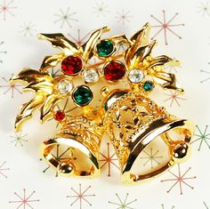 Vintage Christmas Brooch, Gold Bells Holly Leaves Pin, Red Green Rhinestone, Signed AVON, 1970s 1980s Holiday Jewelry by AVintageJewelryChest
