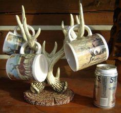 deerantler christmas tree pics   Buck Whitetail Deer Antler Coffee Mug Tree Cabin Lodge   eBay