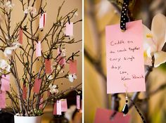 Have each guest sign a little card, and hand from manzanita branches, ...