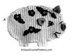 Pig Potholder Pattern - free pattern for crocheting a potholder that looks like a pig.