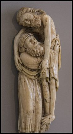 "Jesus is Carried Down from the Cross ___ ""He himself bore our sins in his body on the tree, that we might die to sin and live to righteousness. By his wounds you have been healed"" – 1 Peter 2:24.  A beautiful medieval ivory in the Victoria & Albert Museum of a dead Jesus being tenderly carried by Joseph of Arimathea."