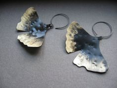 Bronze to Black  Lg Hammered Ginkgo Leaf in by noracatherine, $50.00