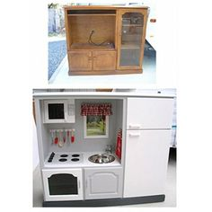 DIY Play Kitchen - from entertainment center to play kitchen