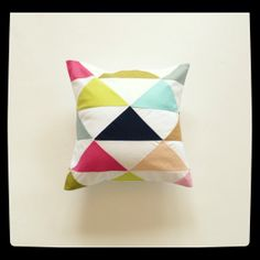 As Featured in LayBabyLay.com blog - Geometric Decorative Pillow - Triangle Pillow Cover- Cushion Cover - Geometric Pillow - 12X12 inches via Etsy