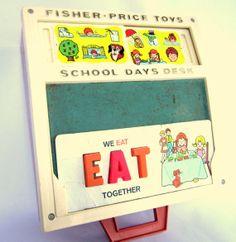 Vintage Fisher Price  School Days Desk 1972 FP Alphabet Chalkboard Numbers
