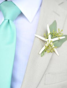 #Blue #Beach #Wedding Starfish #Boutonniere ... Best Wedding #App ... The how, when, where & why of wedding planning for brides, grooms, parents & planners ... https://itunes.apple.com/us/app/the-gold-wedding-planner/id498112599?ls=1=8 … plus lots of budget wedding ideas ♥ The Gold Wedding Planner iPhone App ♥ http://pinterest.com/groomsandbrides/boards/