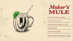 Sweet and crisp with just the right bite, this refreshing take on the Moscow Mule uses Maker's Mark® for added depth. Perfect for those warmer days, but great any time of year. Ingredients: 2 parts Maker's Mark Bourbon, 1/2 part fresh lime juice, 4 muddled pieces of fresh fruit or a squeeze of puree, 1 dash Angostura® aromatic bitters, cold ginger beer.