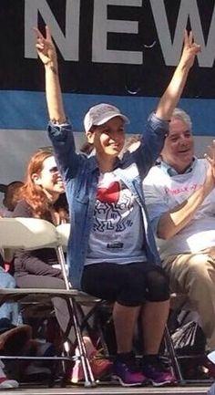 Lana Parrilla attending #AIDSWALK in NY May 18th 2014.