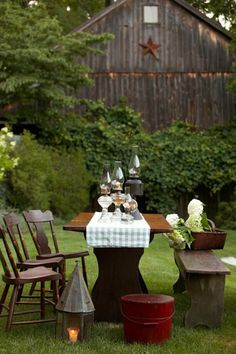 farm, summer picnic, oil lamps, outdoor space, garden, countri, country, backyards, old barns