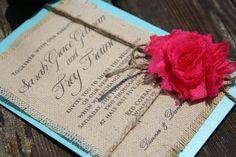 Burlap printed wedding invitations!