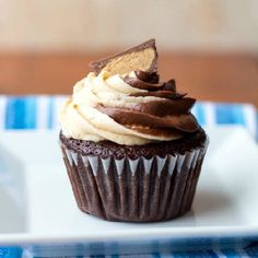 Butter Swirled Cupcakes. Peanut butter and chocolate swirled frosting ...