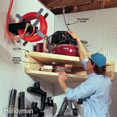 Small Workshop Storage Solutions: Air compressor loft. Build this handy corner unit for your air compressor. http://www.familyhandyman.com/workshop/storage/small-workshop-storage-solutions/view-all