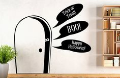 GroopDealz | Spooky Door Wall Decal with Talk Bubbles--why buy Halloween decorations in the store when you can make your own customized holiday decor with vinyl cut-outs?