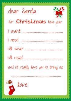 Free Dear Santa Printable - Santa Letter -  This might help Perfect Girl narrow it down.