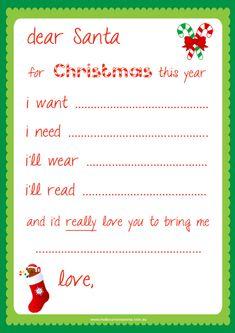 Free Dear Santa Printable - Santa Letter -  This might help Perfect Girl narrow it down.