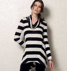 V8962 tunic top made with Mood Fabrics' striped jersey. #moodfabrics