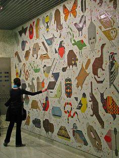 charley harper, floor design, mosaics, harper mosaic, art, tile, children toys, baby toys, kids toys
