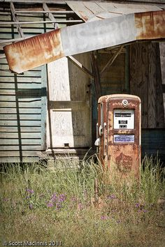 old country store and rusty gas pump