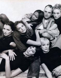 supermodels circa 1990's - Christy Turlington, Kate Moss, Naomi Campbell, Amber Valetta