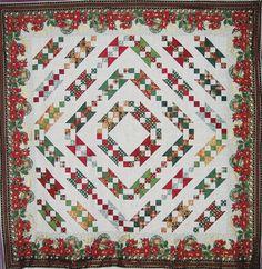Magic of Winter - quilt kit for Christmas Jacob's Ladder design with metallic Christmas fabrics!