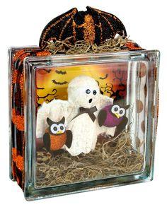 halloween decor, halloween craft, craft ghost, ghosts, fall, halloween glass, glass block, glassblock, ghost glass