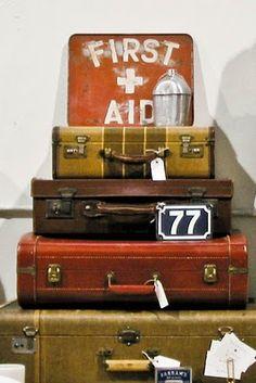 vintage luggage display