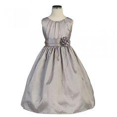 Sweet Kids Baby Toddler Little Girls Silver Pleated Dress 6M-12