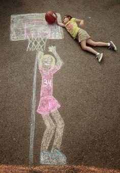 Creative Photos Of Kids As Part Of Chalk Art - basketball