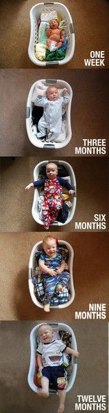 Monthly Baby Photos in laundry basket