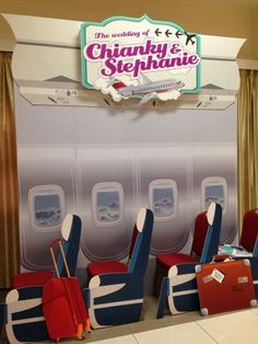 Aviation theme wedding - Fun Airplane seats Photobooth #aviationwedding #aviationweddingideas #pilotwedding