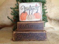 Primitive Country Pumpkins 5 cents Autumn Greetings Fall Wood Block Sitter Set  #AutumnGreetings