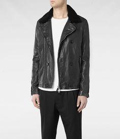 Leather pea coat.