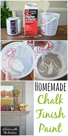 Homemade Chalk Finish Paint using Plaster of Paris and Latex paint.