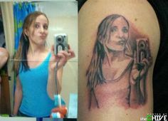 Like the stupid duck face picture wasn't bad enough... selfie, aw tattoo, selfi tattoo, funni, tattoos, stupid tattoo, portrait tattoo, bad tattoo, people