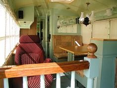 Steampunk/Victorian RV - a converted school bus.  This is the Salon.